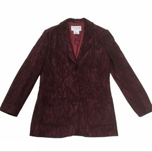 JAEGER Burgundy brocade patterned blazer Size 8